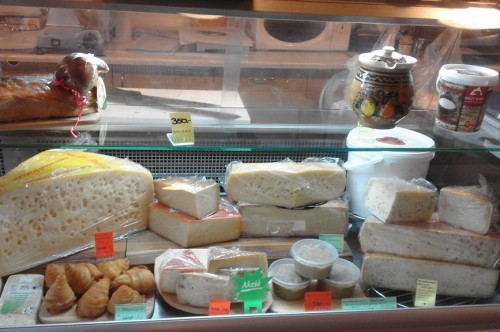 cheese selection in a local cheese shop