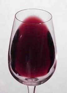 red wine tilted
