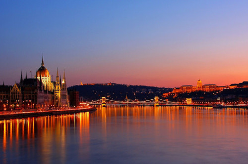 night view of Budapest from the cruise